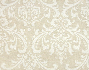 "Two 96"" x 50""  Custom Curtain Panels - Rod Pocket Panels  - Damask  Taupe"