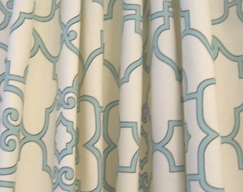 "Two 96"" x 50""  Custom  Curtain Panels - Rod Pocket Panels - Lattice Design - Yellow or Blue"