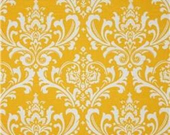 "Two  96""L x50""W  Custom Curtain Panels - Rod Pocket Panels - Corn Yellow/White Damask"
