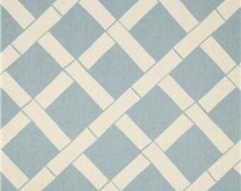 "Two 96"" x 50""  Custom  Curtain Panels  - Rod Pocket Panels -  Designer Fabric Bamboo Village Blue"