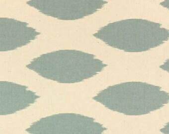 "Two  96""L x 50""W  Custom Curtain Panels  - Rod Pocket Panels  - Village Blue/Natural"