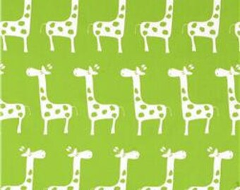 "Two 96"" x 50""  Custom Curtain Panels - Rod Pocket Panels - Chartreuse/White Giraffe"