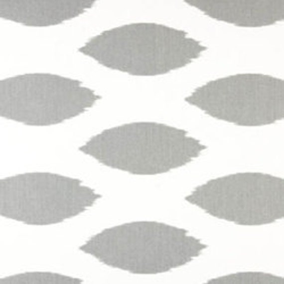"""Two 96"""" x 50""""  Custom LINED  Curtain Panels Grey/White Ikat Ovals"""