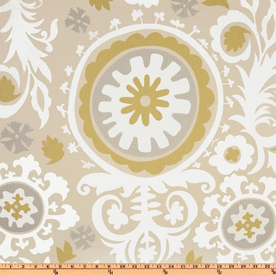 "Two 96"" x50""  Custom  Curtain Panels -   Suzani Pattern - Tan/Brown/Grey"