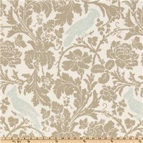 """Two  96"""" x 50""""  Custom Curtain Panels - Birds - Barber - Robin's Egg Blue and Taupe"""