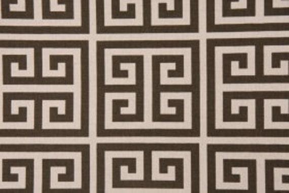 "Two  96"" x 50""  Custom  Curtain Panels -  Brown/Natural - Greek Key Design"