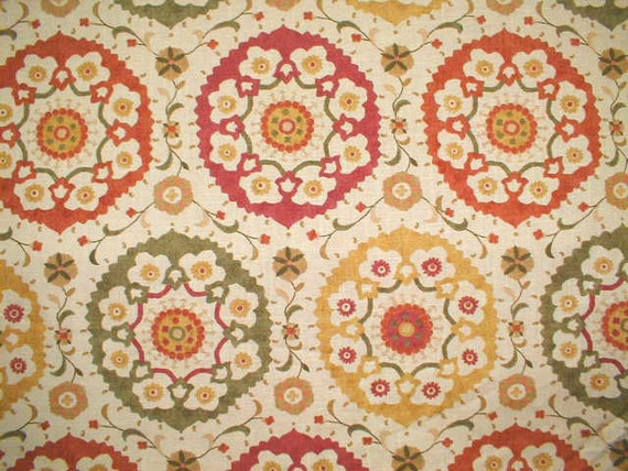 "Two  96"" x 50""  Custom Curtain Panels - Richloom Suzani  Linen Blend"