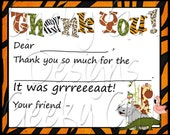 Zoo Thank You Fill In The Blank - Digital - Jungle, Monkey - Toppers, Boxes, Labels, Cards