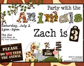 Zoo Invitation -  FREE Thank You Notes - Jungle, Monkey - Digital and Printed