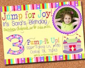 Bounce House Invitation -  FREE Thank You Notes - Jump, Pink, Castle - Digital and Printed