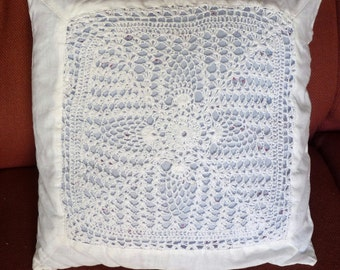 Upcycled VINTAGE Crochet CUSHION Pillow Cotton