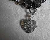 Chunky Silver Necklace with Heart Charm