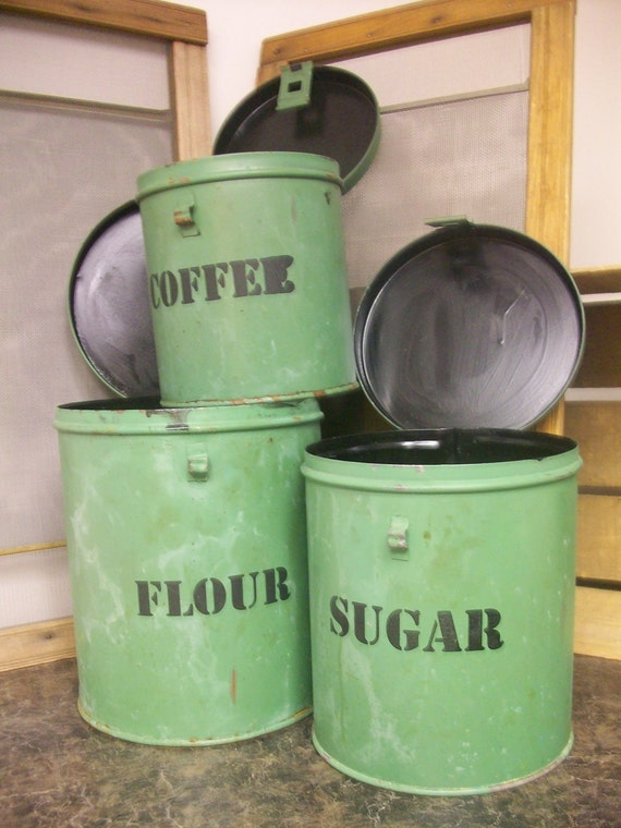 Green Coffee Flour Sugar canisters