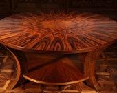 Contemporary Santos Rosewood & Figured Walnut Coffee Table