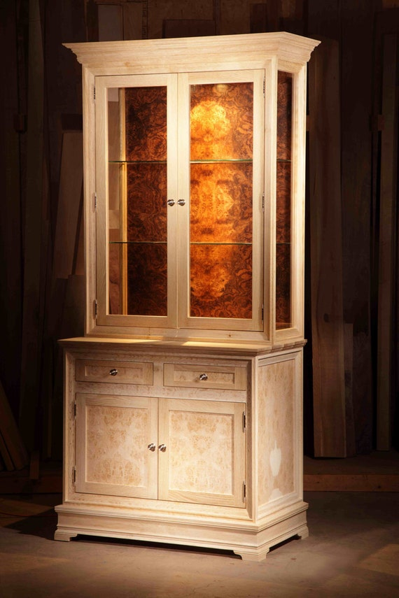 China Cabinet, Traditional Bleached Oak Burl and Glass