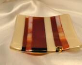 Fused Glass Sushi Dish Deep Red/Orange/Cream