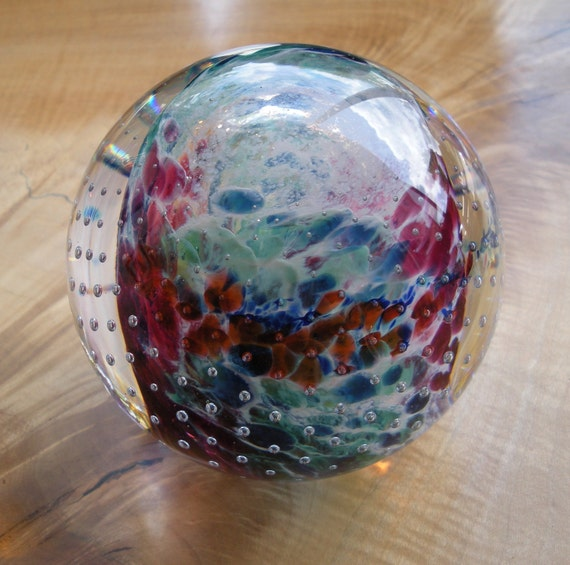 Glass Paperweight  - Cosmic Bubble Weight by Jonathan Winfisky