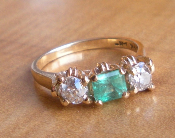 Emerald and Diamond Engagement Ring - 14k Yellow Gold