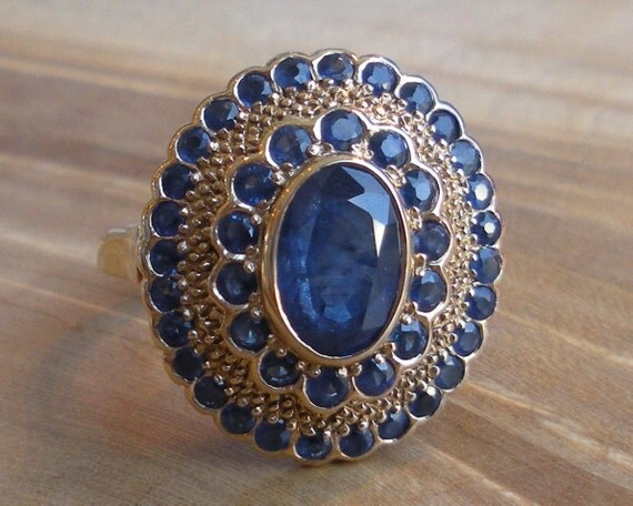 Sapphire 3.00cttw Gold Cluster Engagement Ring