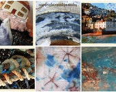 BLUE AND RUST - mosaic art card - St. Ives cottage on textile heart silk tie dye rust textures and fishing ropes nets