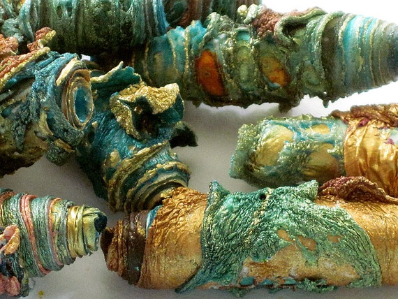 Mixed media textile art beads hand made with Tyvek - copper bronze gold teal turquoise aqua and sea green with a little bit of orange