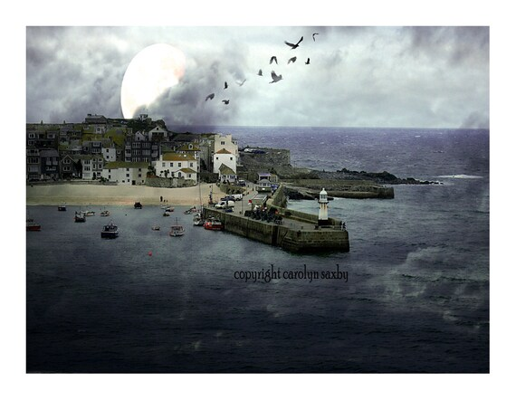 moon over St. Ives bay - a printed seaside art card - St. Ives harbour Cornwall with moody blues and moon textures