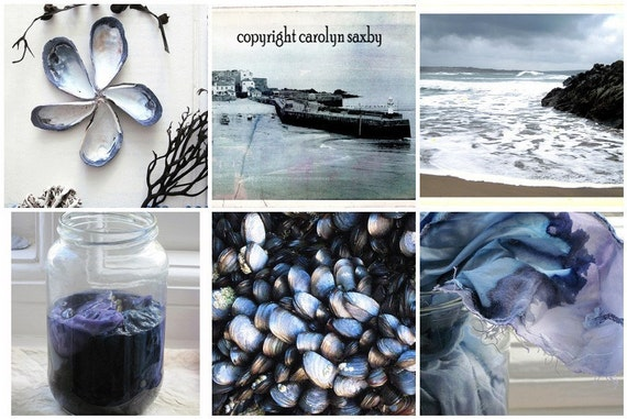 MUSSEL SHELL BLUE - mosaic art card - mussel shells and still life, St. Ives, seaside scenes and red cabbage natural dyeing