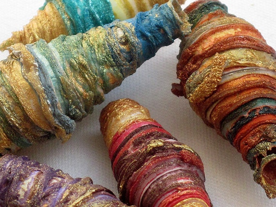 8 mixed media textile art beads hand made with Tyvek - rainbow brights - red pink orange yellow brown gold aqua green turquoise blue purple