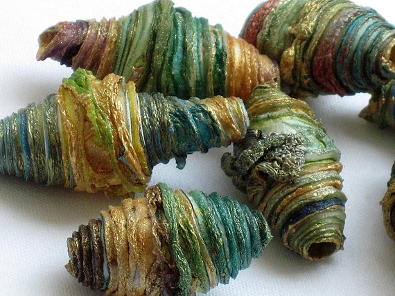 8 mixed media textile art beads hand made with Tyvek - teal turquoise aqua sea green moss olive brown burnt umber copper yellow and gold