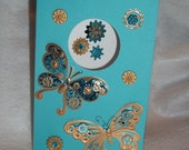 Blank Steampunk Inspired Turquoise and Gold Butterfly Card