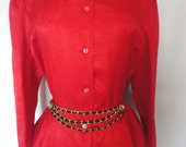 Vintage 80s 90s BRIGHT RED SECRETARY Blouse Top Shirt