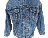 Vintage ACID WASH DENIM Cropped Jean Jacket Small  80s 90s