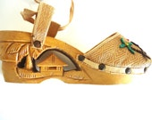 RESERVED FOR WEEMONKEY Tiki Hand Carved Wood Platforms Philippines Peep Toe Sandals 40's 50's