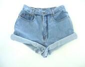 Vintage LIGHT BLUE NORDSTROM High Waisted Denim Jean Short Shorts 90s Sz 24