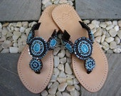 Mare Jeweled Leather Sandals 023