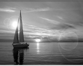 "Sailboat Canvas Giclee Art Print (28) 26""x18"""