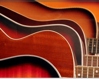 "Acoustic Guitar Canvas Giclee Art Print (35) 18""x12"""