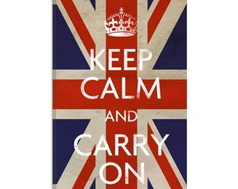 "Keep Calm and Carry on (british Flag) Canvas Art Print (5023) 41""x27"" Thick Bars"