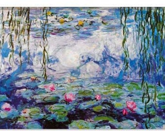 "Nympheas By Claude Monet Canvas Giclee Art Print (327) 12""x8"""