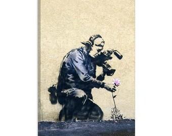 "Camera Man & Flower by Banksy Canvas Art Print (2053) 12""x8"""