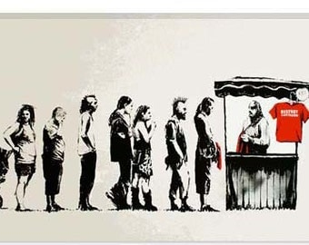 "Destroy Capitalism by Banksy Canvas Art Print (2097) 18""x12"""