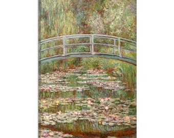 "Bridge over a Pond of Water Lilies 1899 by Claude Monet Canvas Art Print (1028) 61""x41"" Thick Bars"