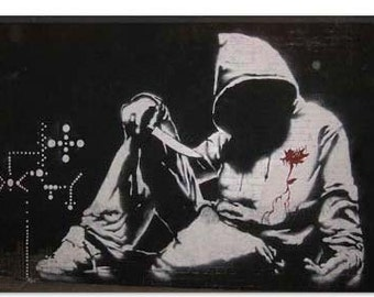 "Hooded Man With Knife by Banksy Canvas Art Print (2047) 12""x8"""