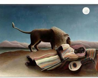 "Sleeping Gypsy 1897 by Henri Rousseau Canvas Art Print (1214) 26""x18"""