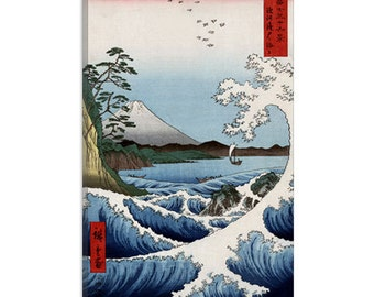 "View From Satta Suruga by Ando Hiroshige Canvas Art Print (1409) 41""x27"" Thick Bars"
