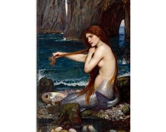 "A Mermaid by John William Waterhouse Canvas Art Print (1482) 26""x18"""