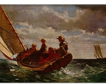 "Breezing Up by Winslow Homer Canvas Art Print (1393) 12""x8"""