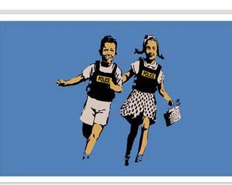 "Police Kids Jack And Jill by Banksy Canvas Art Print (2129) 12""x8"""