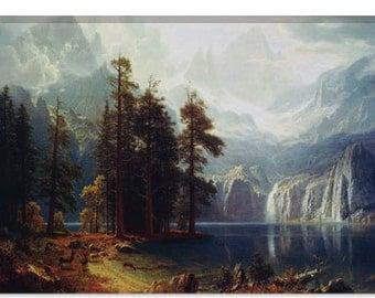 "Sierra Nevada In California by Albert Bierstadt Canvas Art Print (1492) 12""x8"""
