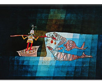 "Sinbad The Sailor by Paul Klee Canvas Art Print (1359) 40""x26"""